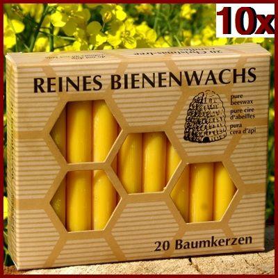 100% Bienenwachs Baumkerzen (200 Stk.) Christbaumkerzen GP:4,59 € pro 1 Pckg.